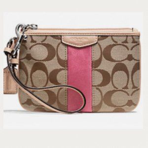 NWT Coach Signature Stripe Small Fabric Wristlet